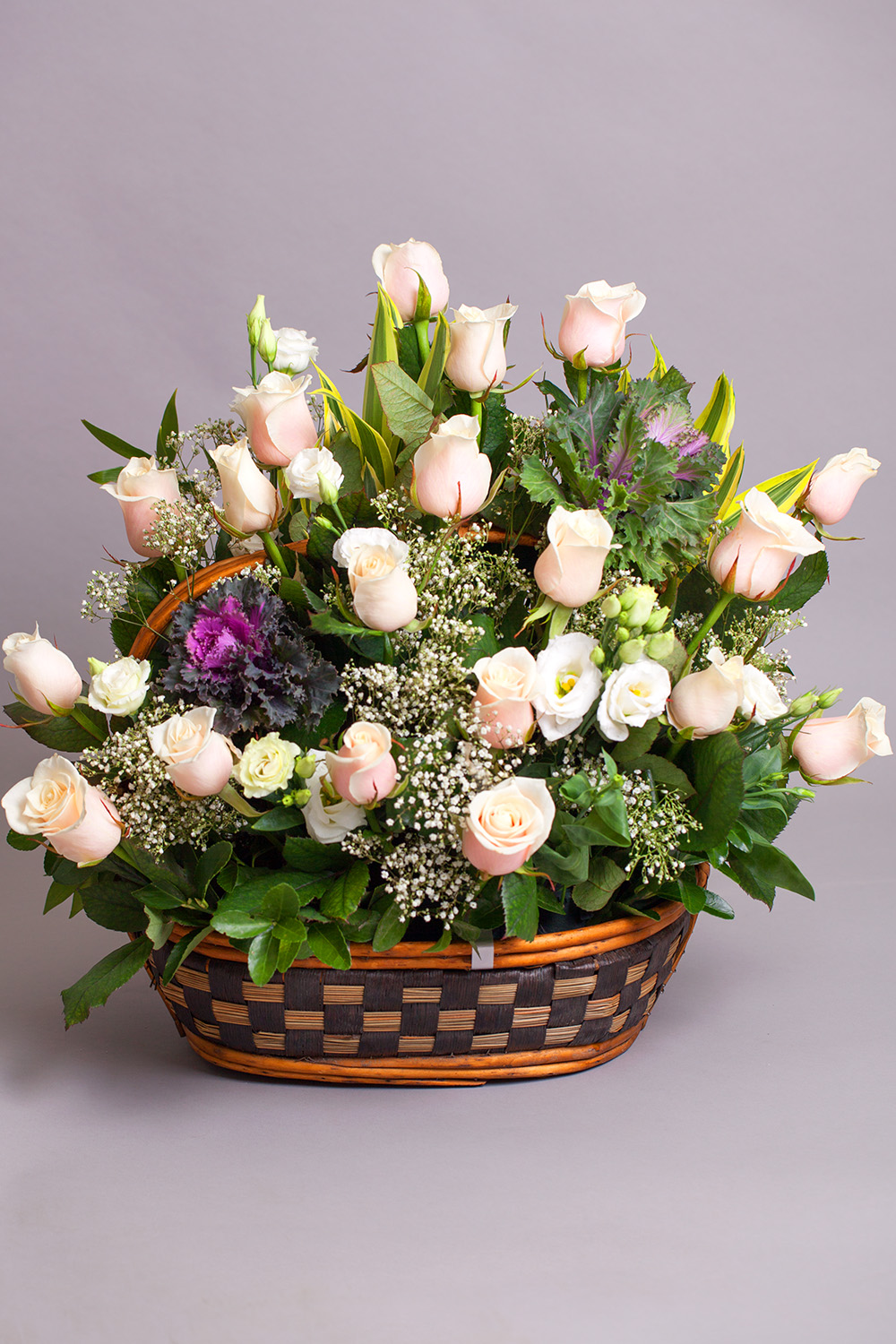 Basket With White Roses Gallery
